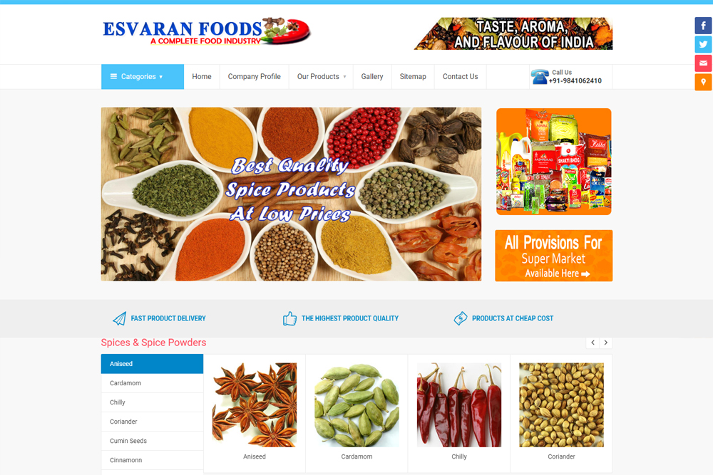 esvaran-foods-restaurant-wordpress-website-development