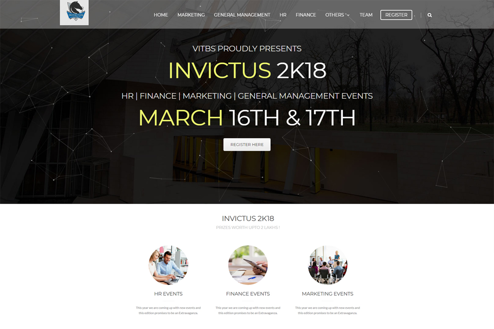 Invictus website development in chennai