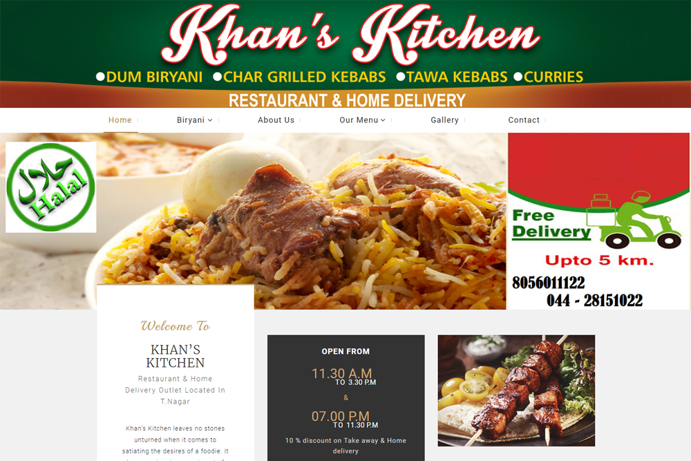 khans kitchen chennai web development agency