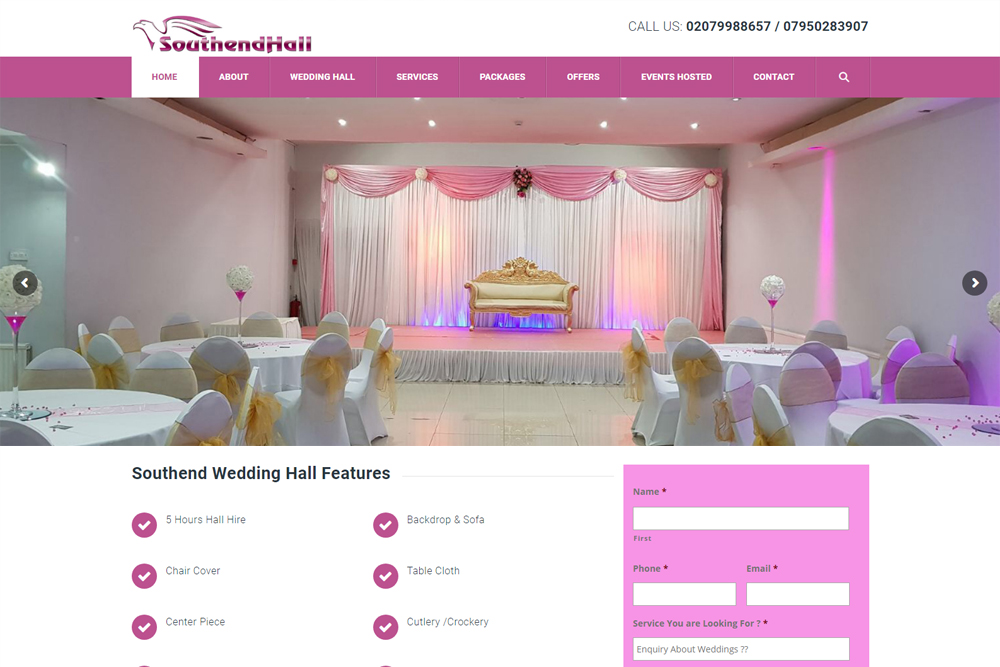 southend-hall-event-management-wordpress-website
