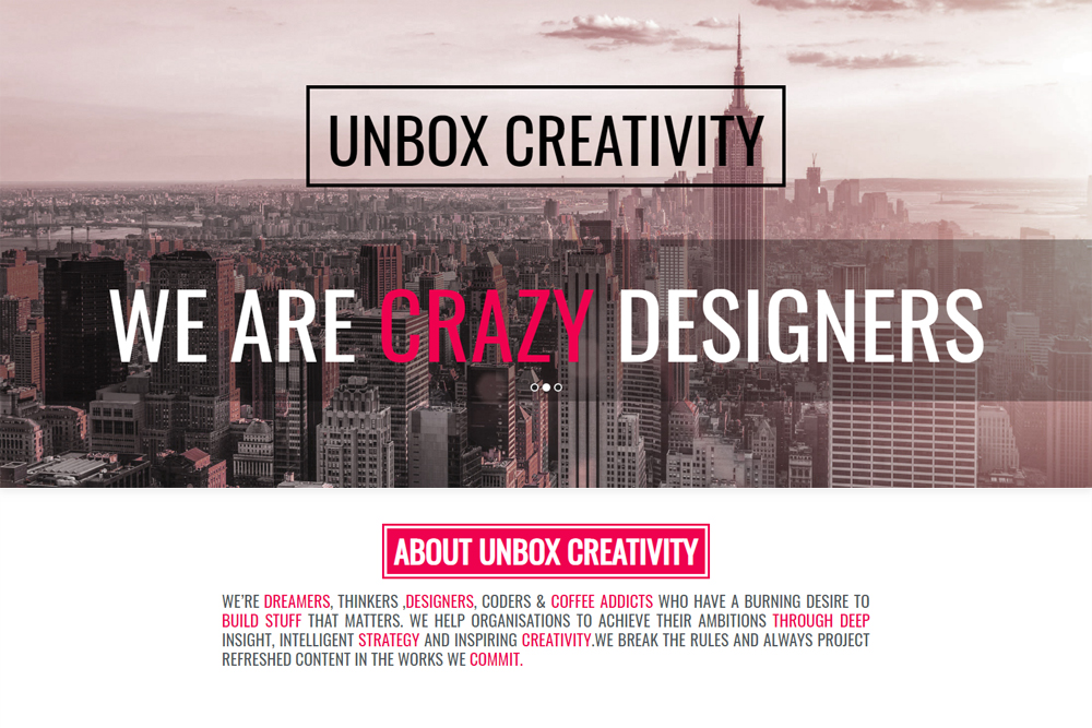 Unbox Creativity HTML Website Development Chennai